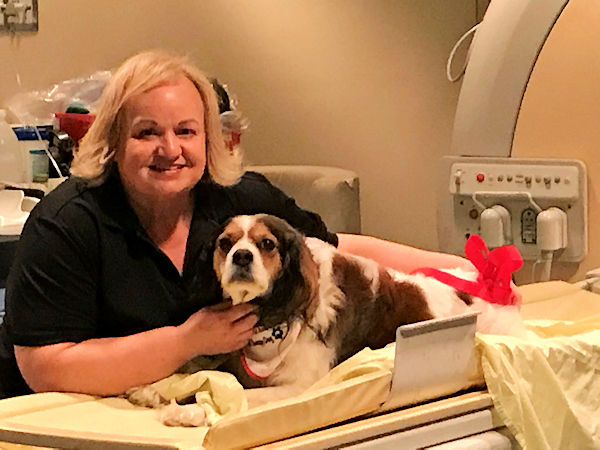 Christine Paradis and therapy dog Dexter