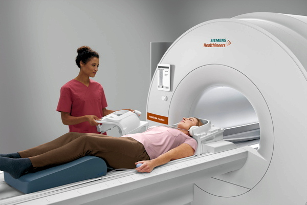 Magnetom Free.Max is a 0.55-tesla MRI scanner being shown as a work-in-progress