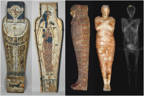 The coffin, cartonnage case, and mummy