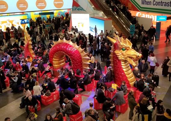 Chinese dragon is the centerpiece of the lounge area in the congress hall