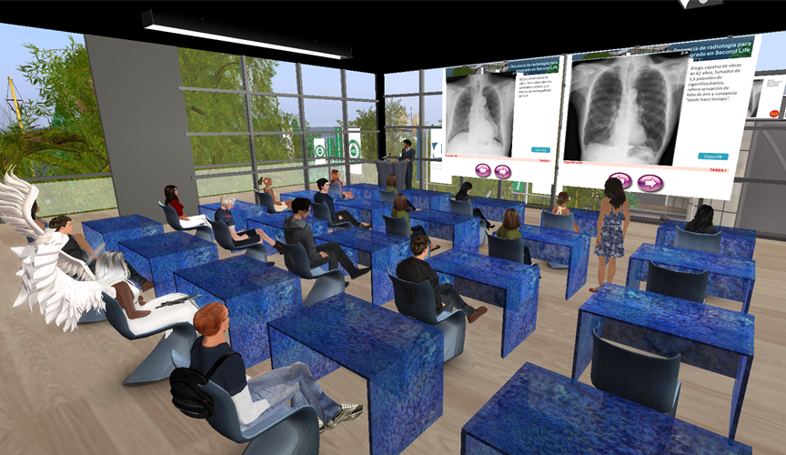 Virtual students in a Second Life classroom