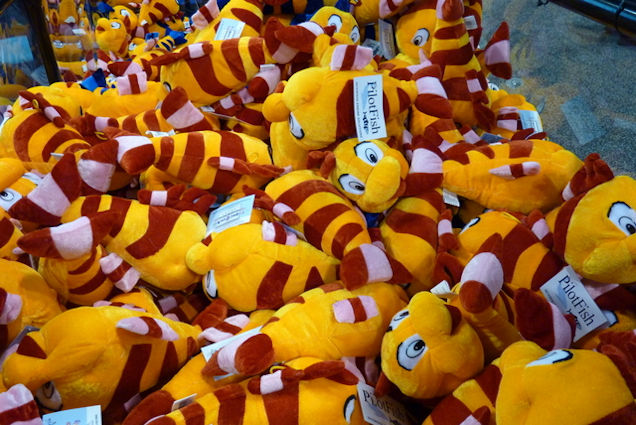 Pile of plush, stuffed fish