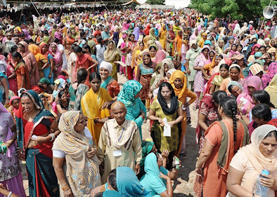A throng of women is representative of the 12 million people who gathered for the mass meditation.