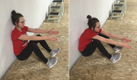 Short-seated wall stretch