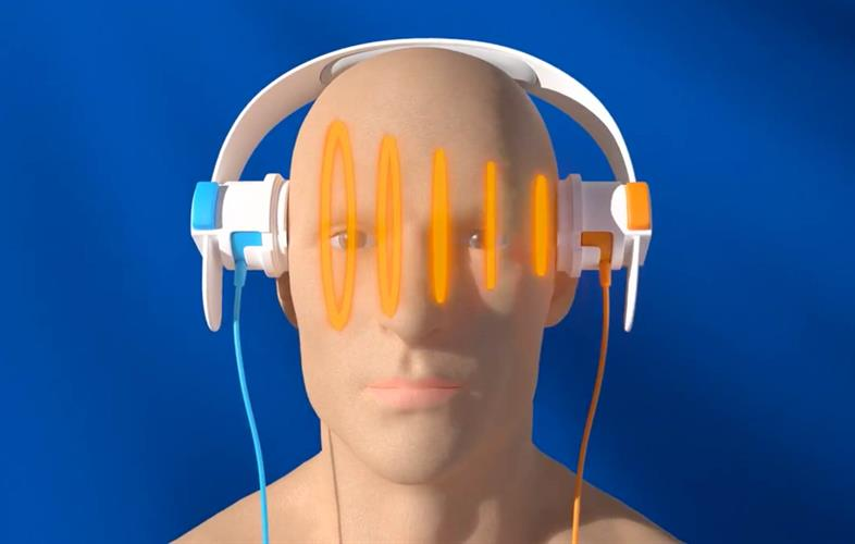 Depiction of man wearing SONAS headphones