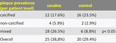 Cocaine users had significantly more mixed plaque composition